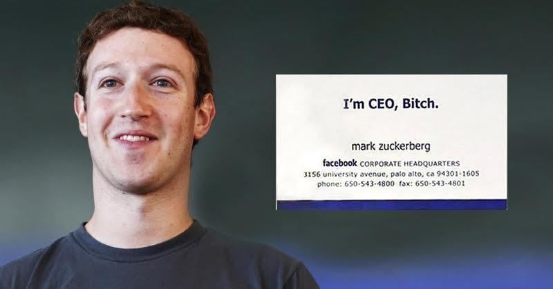 Mark Zuckerberg's first visiting card