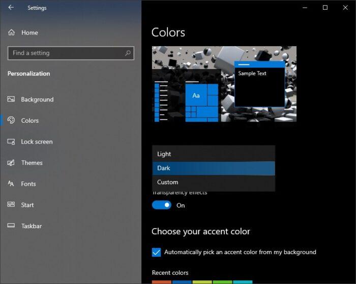 Colours option