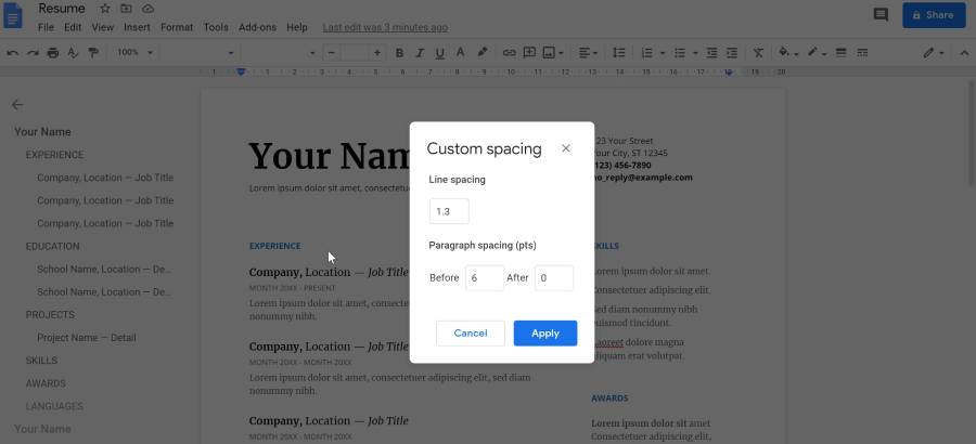 remove page in google docs