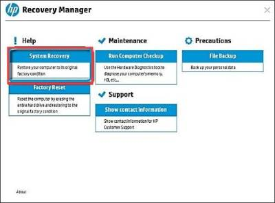 Use HP Recovery Manager