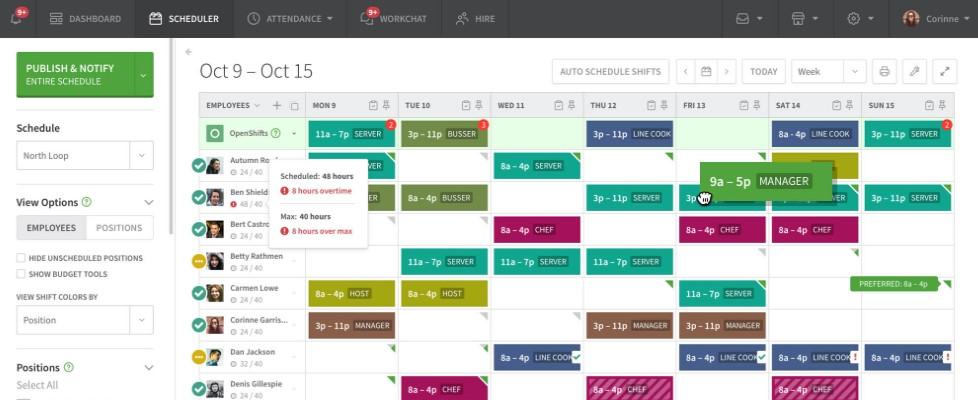 working schedules