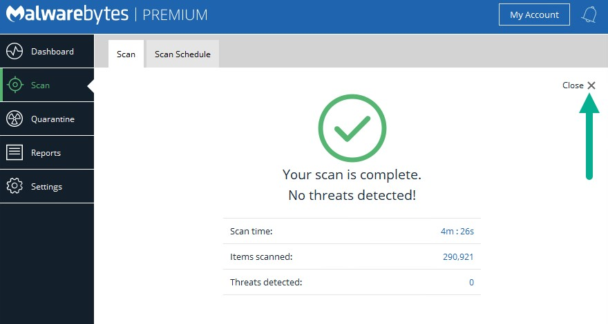 Go for a Malware scan